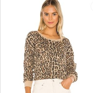 Splendid / Academy Sweatshirt in Warm Sand Leopard